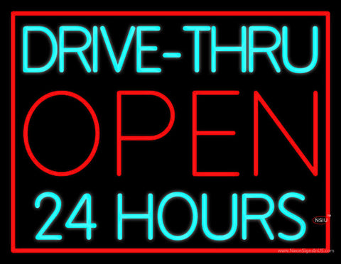 Drive Thru Red Open  Hours Neon Sign