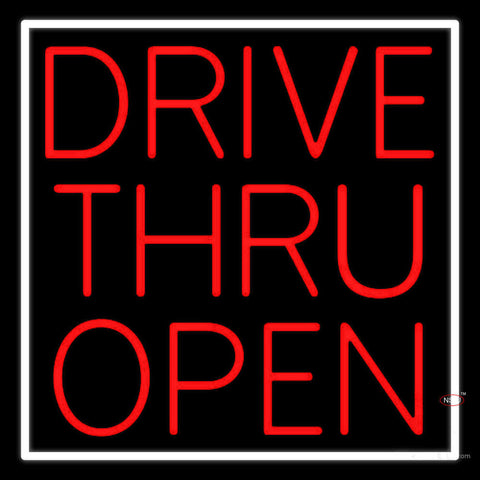 Red Drive Thru Open Neon Sign