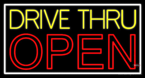 Yellow Drive Thru Open Red Neon Sign