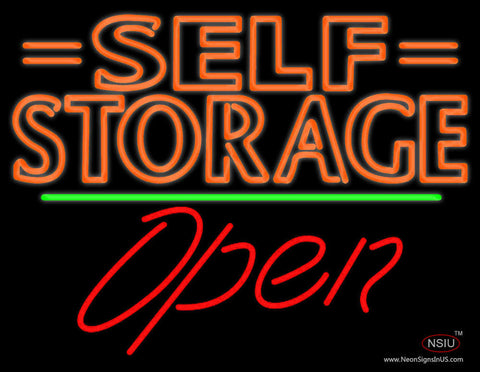 Orange Self Storage Block With Open  Neon Sign