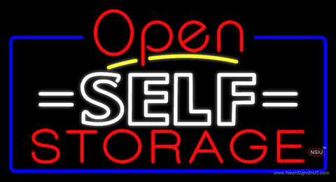 White Self Storage Block With Open  Neon Sign