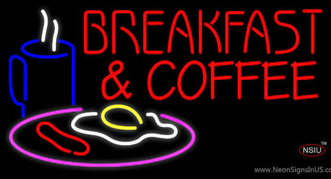 Red Breakfast And Coffee Neon Sign