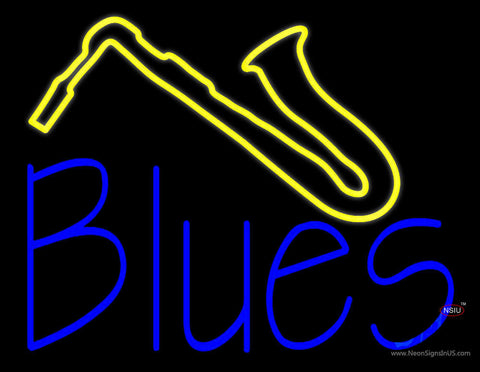 Blue Blues Yellow Saxophone Neon Sign
