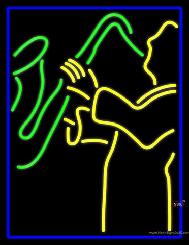 Blue Man Yellow Saxophone Neon Sign