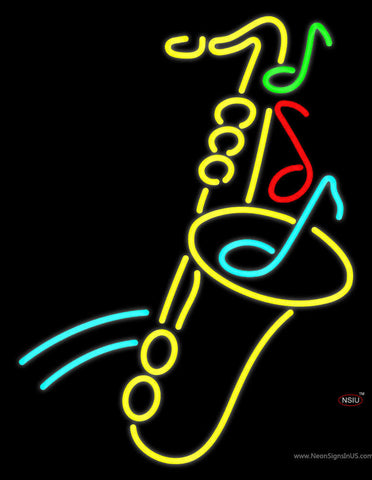 Yellow Saxophone Multicolored Musical Note Neon Sign