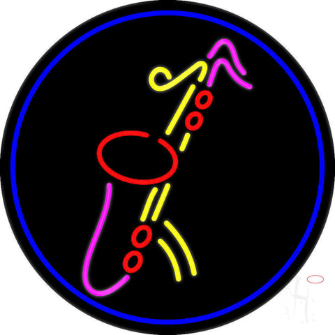 Yellow Saxophone Red Musical Note Neon Sign