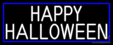 Happy Halloween With Blue Border Neon Sign