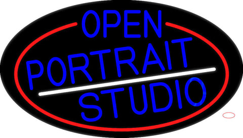 Blue Open Portrait Studio Oval With Red Border Neon Sign