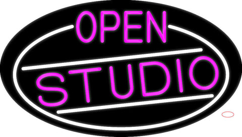 Pink Open Studio Oval With White Border Neon Sign