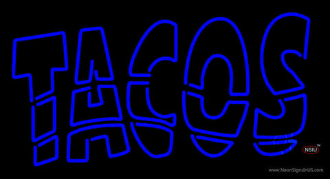 Double Stroke Blue Tacos Neon Sign