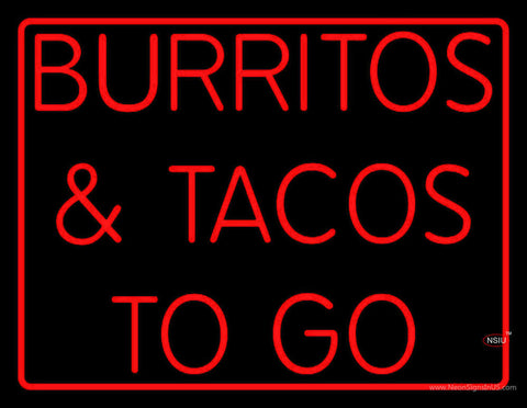 Red Burritos And Tacos To Go Neon Sign