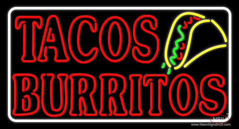 Red Tacos Burritos Neon Sign
