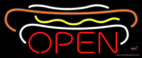 Hot Dogs Open Block Neon Sign
