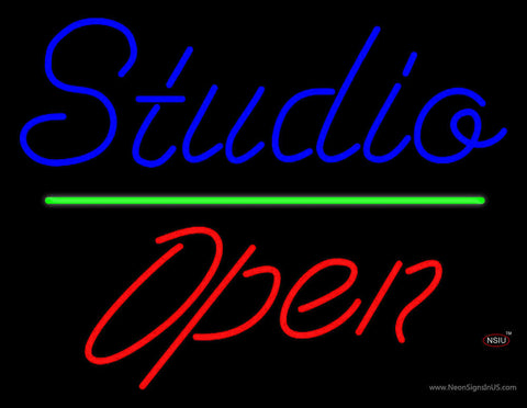 Blue Studio Red Open  Neon Sign