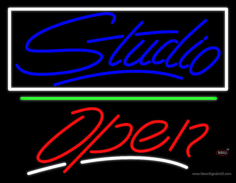 Blue Studio With Open  Neon Sign