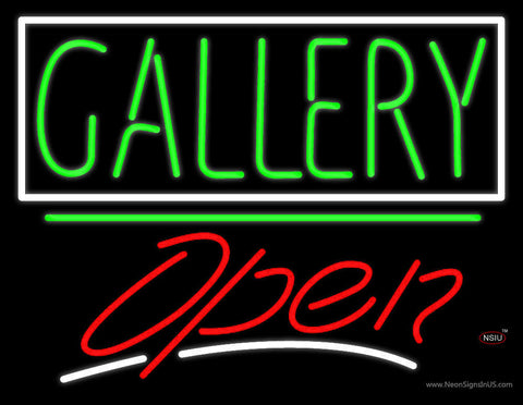 Green Gallery Block With Open  Neon Sign
