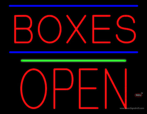 Red Boxes Open Block Green Line Neon Sign