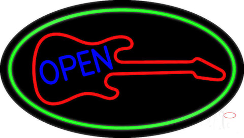 Guitar Blue Open Block  Neon Sign