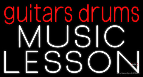Red Guitar Drums White Music Lesson Neon Sign