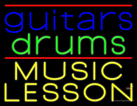 Guitar Drums Music Lesson Neon Sign