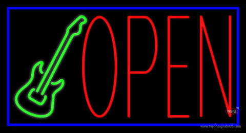 Guitar Open Block Neon Sign