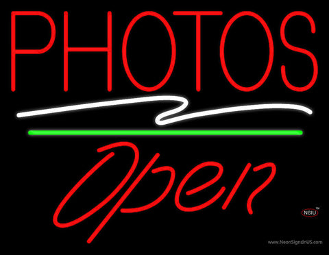Red Photos Block With Open  Neon Sign