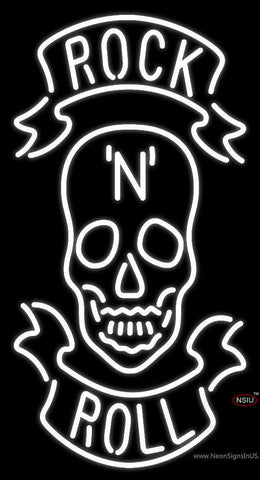 Rock N Roll White Skull  Neon Sign