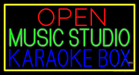 Open Music Studio Karaoke Box Yellow Border  Neon Sign