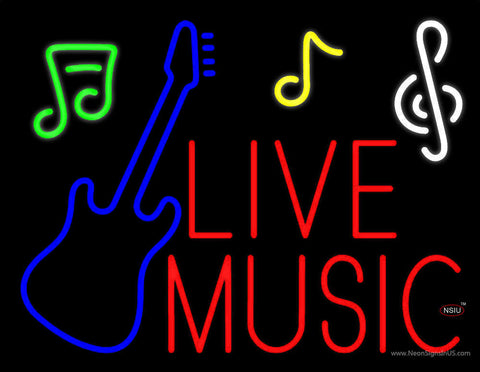 Red Live Music With Guitar Note  Neon Sign