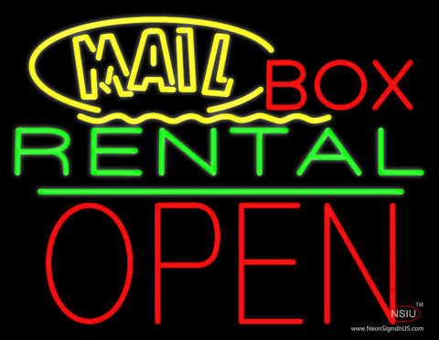 Yellow Mail Block Box Rental Open  Neon Sign