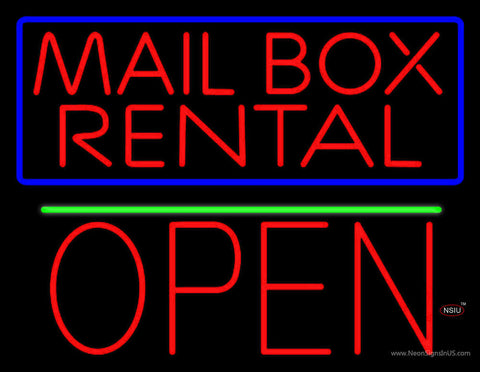 Block Mail Box Rental Blue Border With Open  Neon Sign