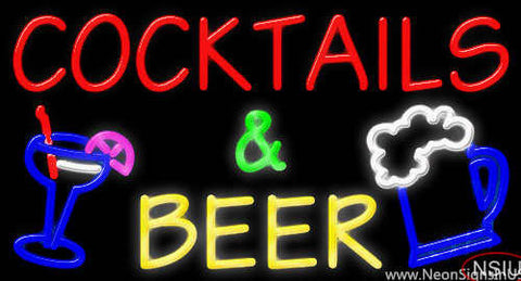 Cocktails And Beer Real Neon Glass Tube Neon Sign
