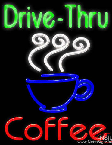 Drive Thru Coffee Real Neon Glass Tube Neon Sign