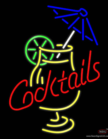 Cocktail and Martini Umbrella Cup Bar Real Neon Glass Tube Neon Sign