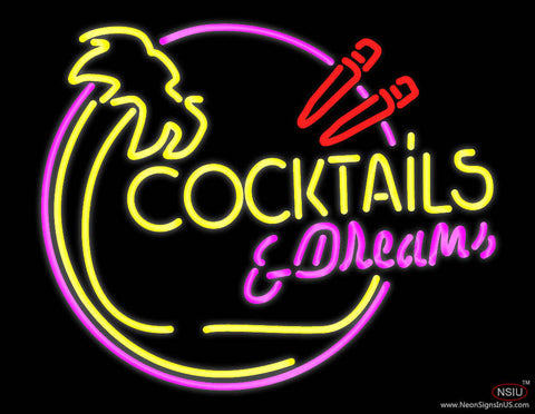 Cocktails and Dreams Bar Real Neon Glass Tube Neon Sign