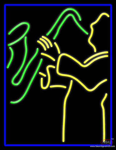 Blue Man Yellow Saxophone Real Neon Glass Tube Neon Sign