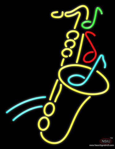 Yellow Saxophone Multicolored Musical Note Real Neon Glass Tube Neon Sign