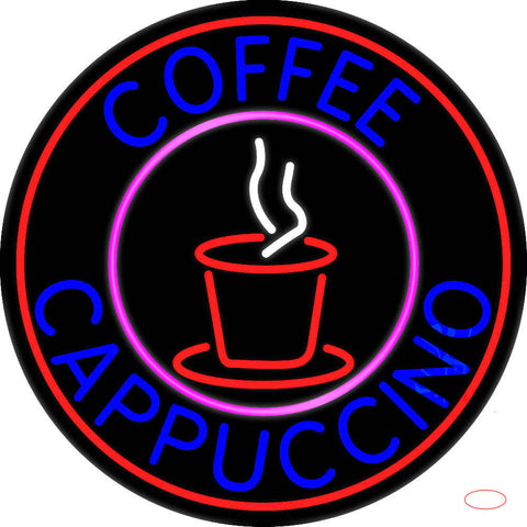 Blue Coffee Cappuccino With Red Circle Real Neon Glass Tube Neon Sign