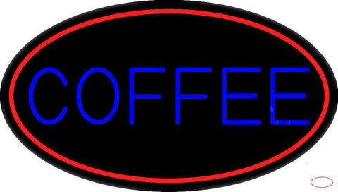 Blue Coffee With Red Oval Real Neon Glass Tube Neon Sign