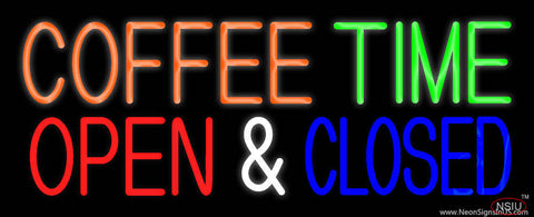 Coffee Time Open Closed Real Neon Glass Tube Neon Sign