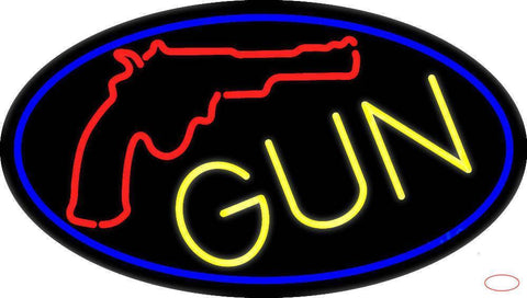 Gun With Logo Handmade Art Neon Sign