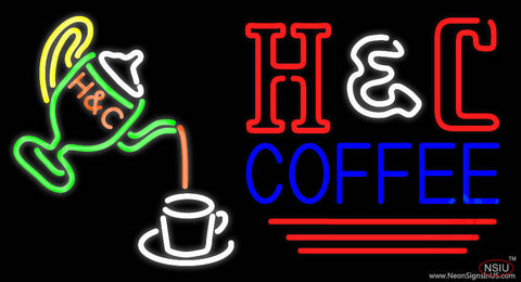 Pouring Hot Coffee In Cup Real Neon Glass Tube Neon Sign