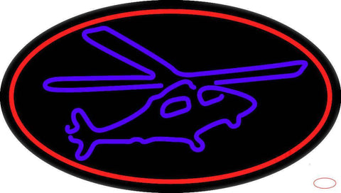 Purple Helicopter Handmade Art Neon Sign