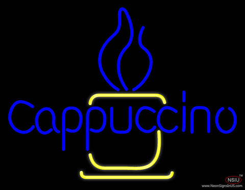 Blue Cappuccino Cup Real Neon Glass Tube Neon Sign