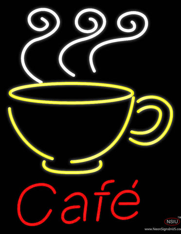 Cafe With Coffee Mug Real Neon Glass Tube Neon Sign