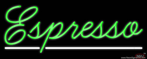 Cursive Green Espresso Real Neon Glass Tube Neon Sign