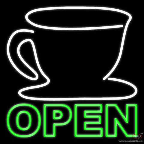 Double Stroke Coffee Cup Open Real Neon Glass Tube Neon Sign