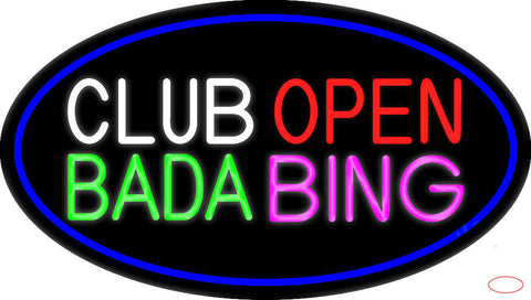 Club Open Bada Bing With Blue Border Real Neon Glass Tube Neon Sign