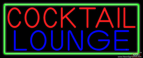 Cocktail Lounge With Green Border Real Neon Glass Tube Neon Sign