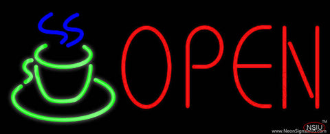 Red Open Coffee Cup Real Neon Glass Tube Neon Sign